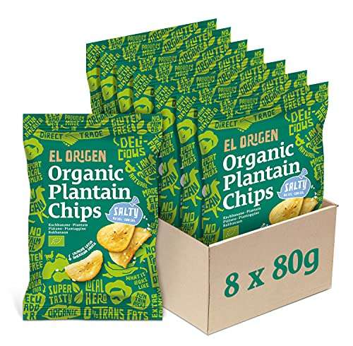 el origen Bio Kochbananen Chips mit Meersalz, 8 x 80g