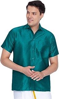 Vastramay Men Green Cotton Silk Ethnic Shirt (VASMSH001GN)