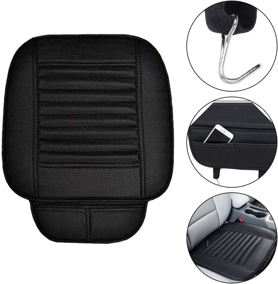 Saienno PU Leather Single Sheet Non-Slip Breathable Three-Piece Four Seasons Universal car seat Cushion Gray