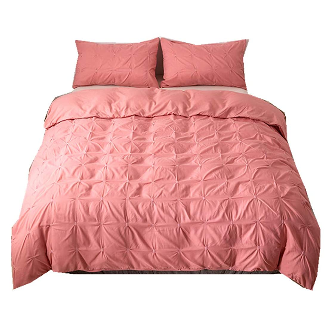 要旨意図敷居北欧 無地 純色 ギャザー設計 寝具カバーセット 掛け布団カバー 枕カバー 洗い替え 2点セット ピンク シングル