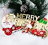 Adorfine Deco Christbaum Schmuck, Wintersport Weihnachtsanhänger aus Holz in Bordeaux- Schlittschuhe, Schlitten, Handschuhe,Weihnachtsmann Baumbehang mit Kuscheligen Plüsch - 3