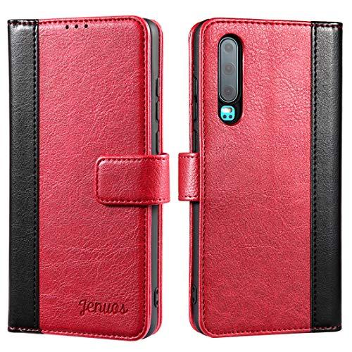 Coque Huawei P30, Housse étuis en Cuir Flip Phone Cover Véritable pour Huawei P30 - Vin Rouge (P30-JG-WR)