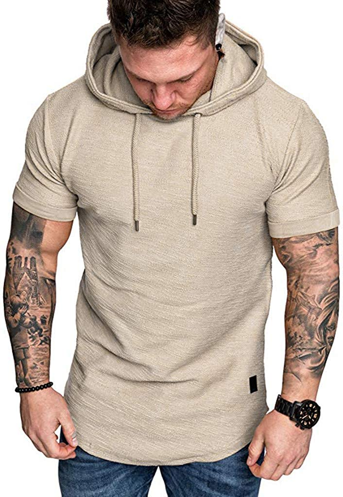 Amober Blouse for Mens, Slim Fit Casual Popular Large Size Short Sleeve Hoodie Top Blouse