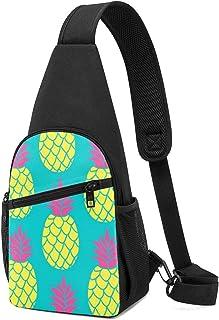 Pineapple - Mochila bandolera con patrón sin costuras en colores de moda, color de verano, ligera, mochila para el pecho, ...