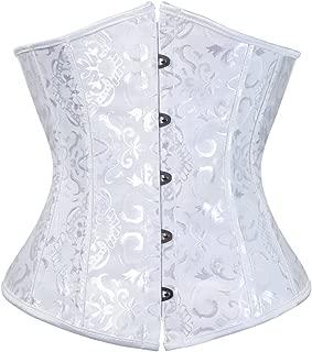 Women's Satin Lace Up Boned Lingerie Bridal Underbust Corset Top Low Back