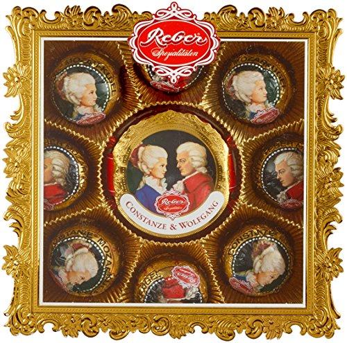 Reber Wolfgang & Constanze Mozart, Mozart-Kugeln, Pastete und Pralinen, Zartbitter- und Alpenmilch-Schokolade, Marzipan, Nougat, Tolles Geschenk, 9er-Packung