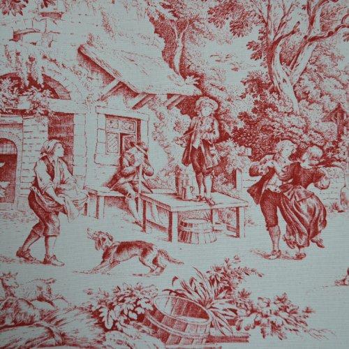 Textiles français Tela roja Toile de Jouy de Francia (Oriane) - 100% algodón Suave | Ancho: 140cm (1 Metro)