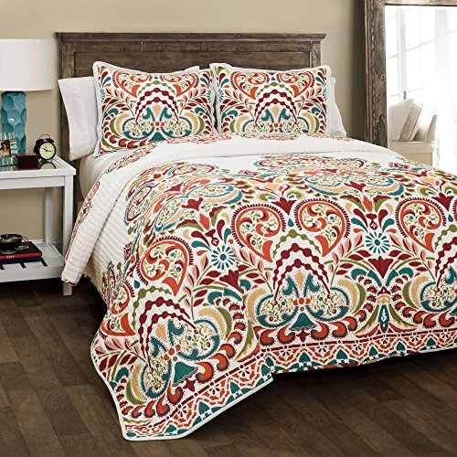 Lush Decor Clara Quilt 3 Piece Reversible Bedding Set, Full Queen, Turquoise and Tangerine