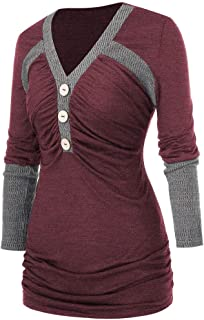 Deesee(TM) Plus Size Women Long Sleeve Plus Size Contrast Trim Buttons Ruched T Shirt