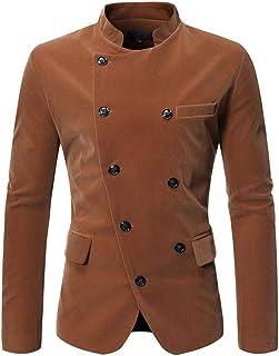 Hibasing Men's Double Breasted Blazer Vintage Business Wedding Party Jacket Elegant Button Down Slim Fit Coat Uniform Cost...