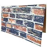 3D Wall Panels POPPAP 3D Visual Effects Foam Wall Panels Faux Brick Wallpaper Peel and Stick Vintage Navy Brown Red White Brick Painted Brick Wallpaper 10 Tiles