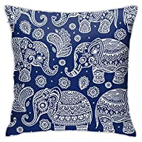 クッションカバー 45×45cm 象柄 インド風 ベルベット 装飾枕カバー 抱き枕カバー モダン おしゃれ ソファ背当て 座布団カバー シンプル かわいい ファスナー インテリア 柔らかい 雑貨 プリント
