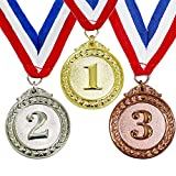 Myartte Award Medals Value 3 Pack Gold Sliver Copper Winner Medals with Neck Ribbon Prizes for Competition Sports