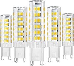 Paquete de 5 - Bombillas LED G9 ahorro de energía LED 7W Super Bright 500LM (equivalente a una lámpara halógena de 60W) con 2835 SMD 76 LEDs CA 230V Luz no regulable Blanco frío