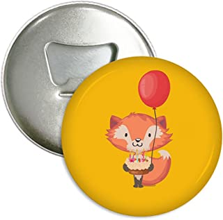 XIANN Sticker Drinking Beer Bottle Opener Multi-function Refrigerator Magnet - Lovely Fox With A Birthday Cake And Balloon