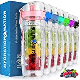 Hydration Nation 34oz Fruit Infuser Water Bottle - BPA Free Water Infuser Bottle with Dual Non-slip Grip & Flip Top Cap - Time Marked Water Bottle With Fruit Infuser Rod For Home & Outdoors (Pink)