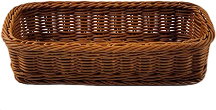 YARNOW Wicker Bread Basket Tabletop Food Fruit Vegetables Serving Basket Tableware Storage Box for Home Restaurant Kitchen