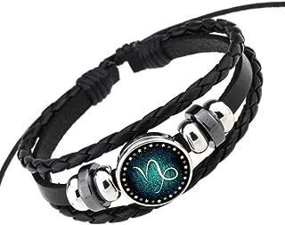 spyman Rosemes Retro 12 Constellation Beaded Hand Woven Leather Bracelet Punk Chain Cuff