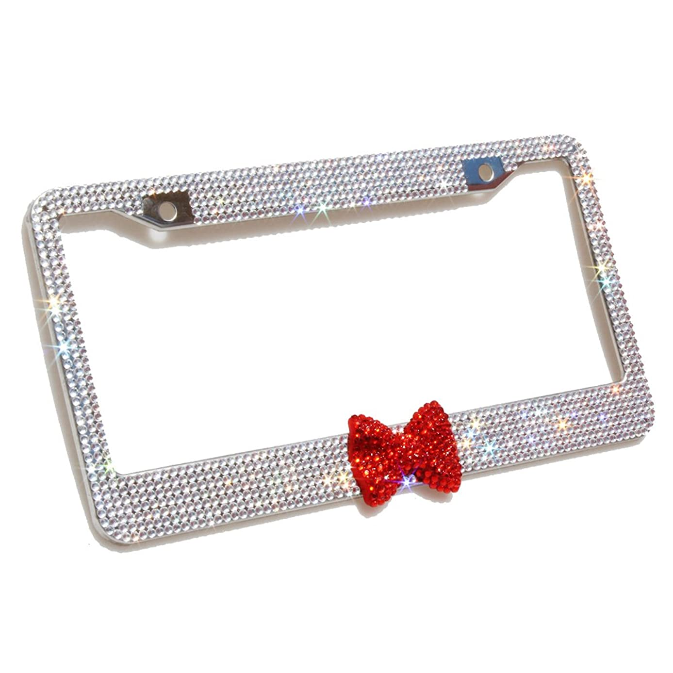 Carfond 7 Row Pure Handmade Waterproof Bling Bling Rhinestones Stainless Steel License Plate Frame with HOT Red Bow 2 Holes Bonus Matching Screws & Caps (Clear/red Bowtie)