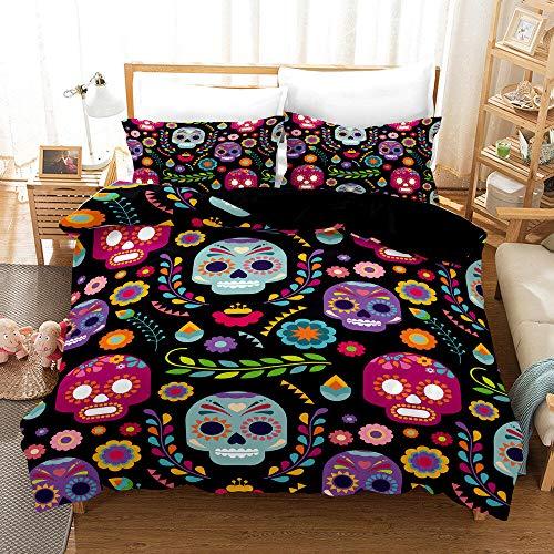 QDoodePoyer Påslakan Set Dubbelsäng 3PCS Rosa dröm romantik kärlek Easy Care påslakan 260x220cm med 2 örngott 50 x 75 cm - Mjuk mikrofiber sängkläder med blixtlås