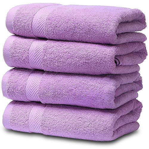 "SEMAXE Towel Premium Cotton Hand Towels for Bathroom, 16""x 27"", Luxury Hotel & Spa Towel (Purple, 4 Hand Towel)"