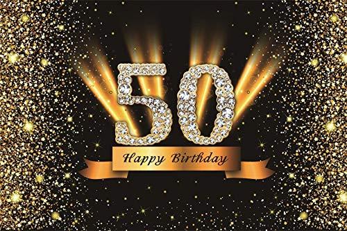 Fondo de fotografía Happy 50 40 30 25 18 Fiesta de cumpleaños Póster de Lunares Dorados Fondo de fotografía Accesorios de Estudio A28 7x5ft / 2.1x1.5m