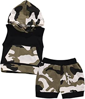 Baby Boys Girls 2pcs Outfit Camo Shark Hooded Vest T Shirt Tops with Pocket+ Shorts Set