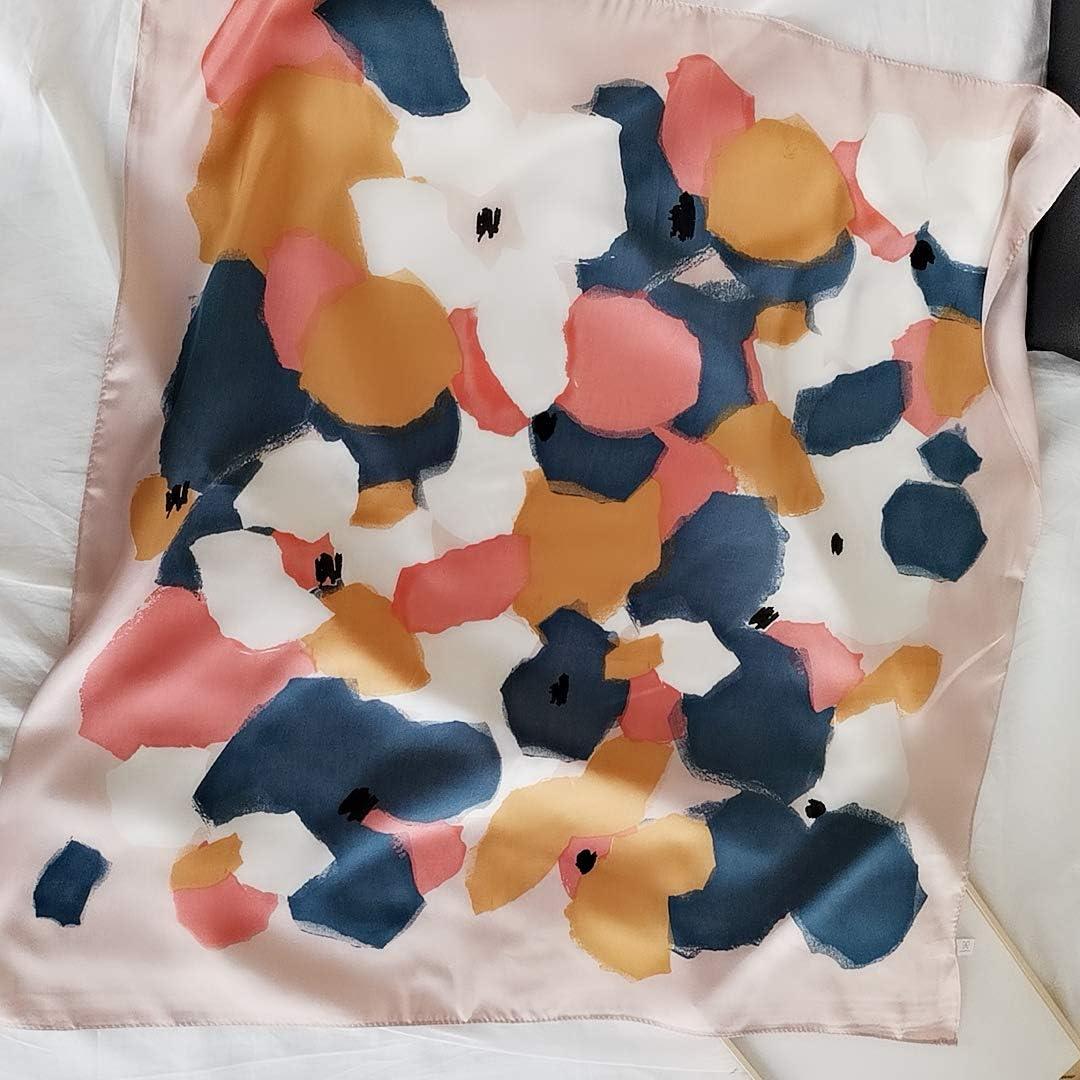 FONYVE Silk Feeling Scarf Medium Square Satin Head Scarf for Women 27.5 × 27.5 inches
