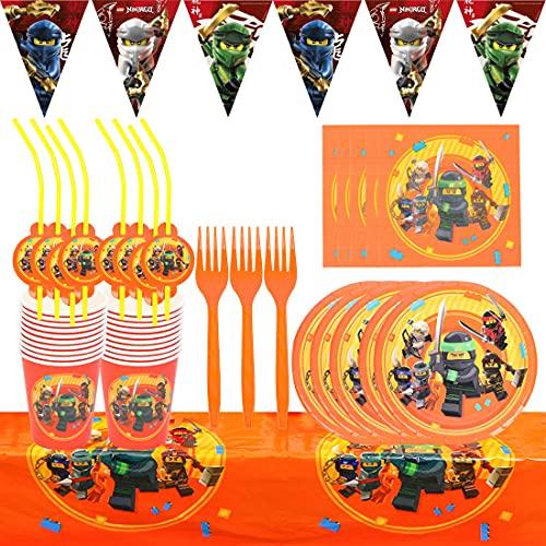 Accesorio de Decoración de Fiesta de Cumpleaño HANEL-62pcs Ninja Vajilla Contiene Platos Tazas Manteles Servilletas Tenedores banderín para Niños Niñas Decoración de Fiesta