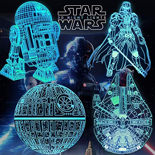 Star Wars Night Lights - 3D Illusion Lamp Kids Night Light 7 Colors Changing with Timer & Smart Touch & Remote Control,Christmas and Birthday Gifts for Star Wars Fans, Star Wars Toys for Kids