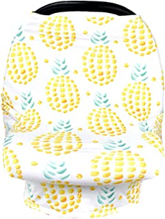 Multiuse 4 in 1 Breathable Nursing Cover Breastfeeding Scarf Baby Carseat Canopy (Big Pineapple)
