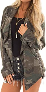 Women Stylish Army Green Camouflage Coat Long Sleeved Cardigan Coat Jacket