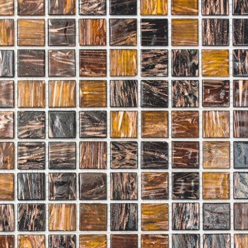 Mosaik Fliese Glas Goldstar braun für BODEN WAND BAD WC DUSCHE KÜCHE FLIESENSPIEGEL THEKENVERKLEIDUNG BADEWANNENVERKLEIDUNG Mosaikmatte Mosaikplatte