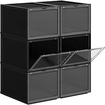 SONGMICS Cajas de Zapatos Apilables, Plástica, Rígida, Ahorro de Espacio, Fácil Montaje,28 x 36 x 22 cm, para Zapatos hasta la Talla 46, Juego de 6, Negro LSP06BK: Amazon.es: Hogar