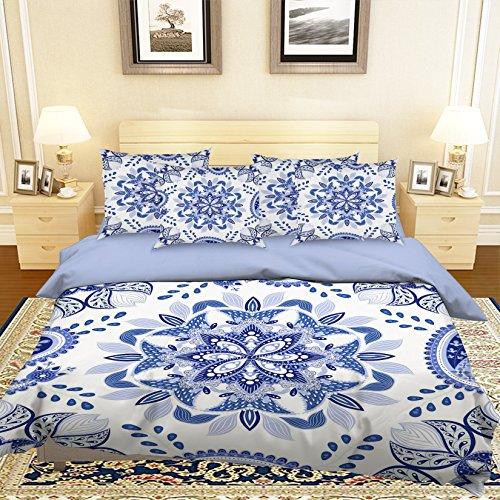 3d Bleu Blanc Fleur 75 Parure de lit Taie d'oreiller Parure de lit avec housse de couette simple Queen King   3d Photo Parure de lit, AJ papier peint britannique Sept