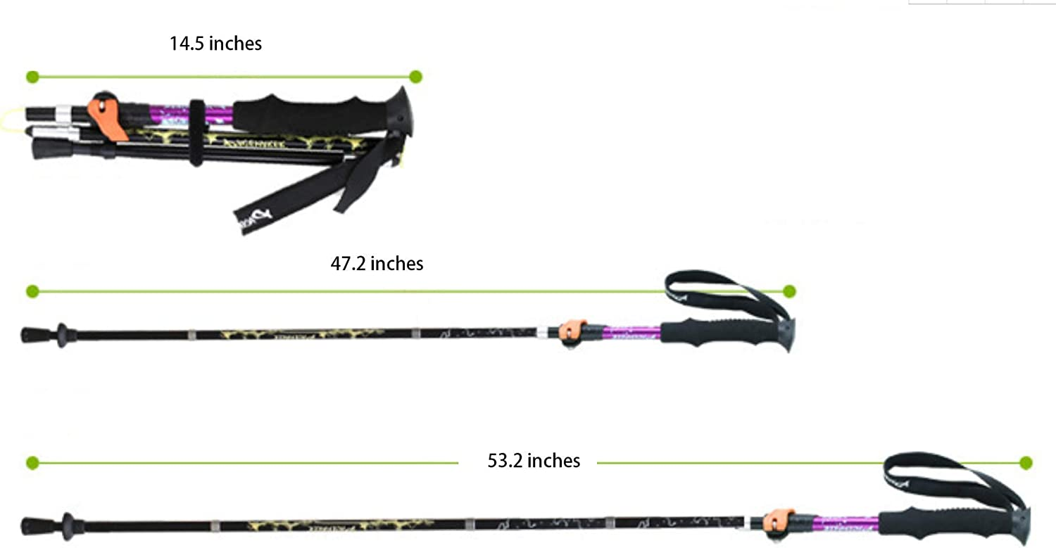 Quakeproof Collapsible Hiking Poles with Quick Locks Lightweight 7075 Aluminum Terrain Accessories /& Carrying Bag Folding Trekking Pole