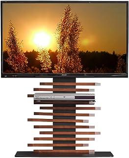 タンスのゲン テレビスタンド 天然木 震度7クリア 自立式 棚板付き 高さ調節 3段階 32~65v対応 横柵 ブラウン 56800008 02 (69760)