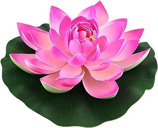 JAROWN 4pcs Artificial Lotus Flowers EVA Floating Water Lily Leaves Plants for Fish Tank Aquarium Pond Decoration(18cm,Pink)