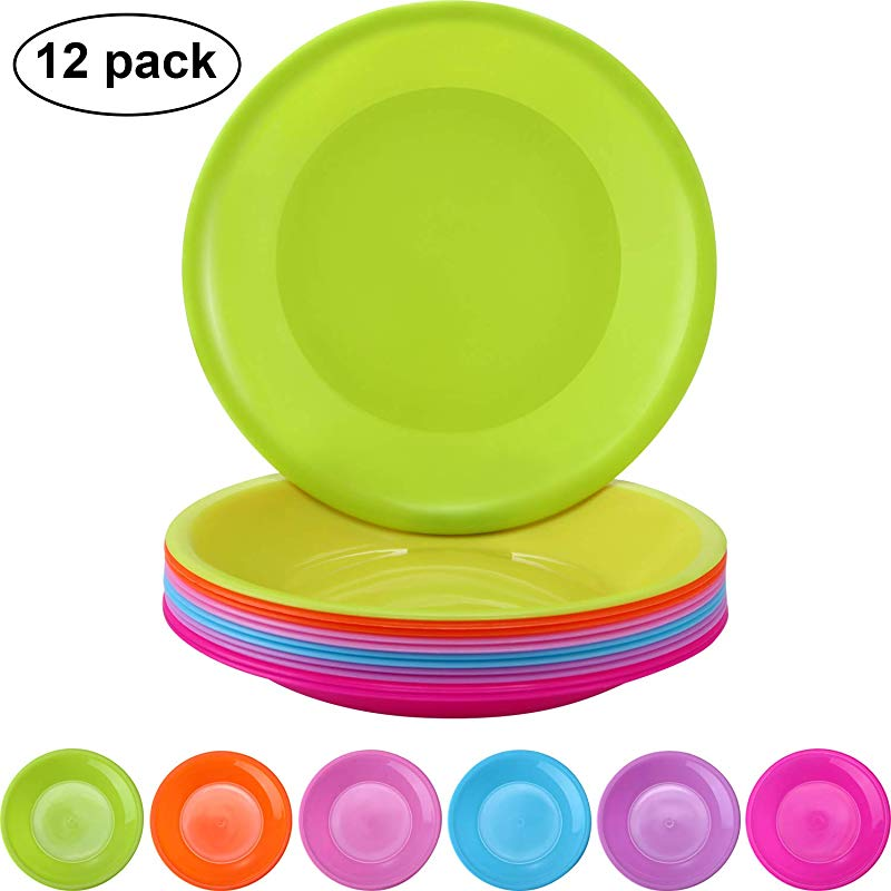 12 Pieces Colorful Plate Set Plastic Snack Plate Small Plates Picnic Plates Microwave And Dishwasher Safe 6 Colors