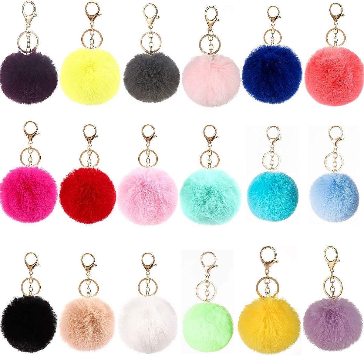 18PCS Pom Pom Keychains Faux Rabbit Fur Ball for Car Key Ring Phone Handbag Charm Tote Pendant