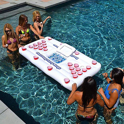 SHIYN Riesige schwimmende Liege aufblasbare Bier Pong Set, aufblasbare Luftmatratze Bett, Pool Float Tisch mit Liege Mat Party Trinkspiele für Erwachsene