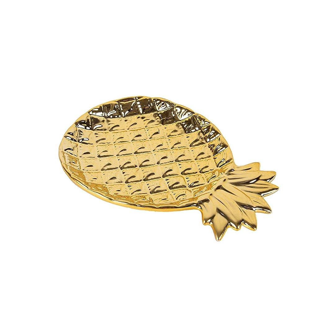 接続された脈拍征服JISHIYUジュエリーセラミックストレージプレート装飾ブレスレットイヤリングネックレスインテリアデコレーションパイナップル,ゴールド