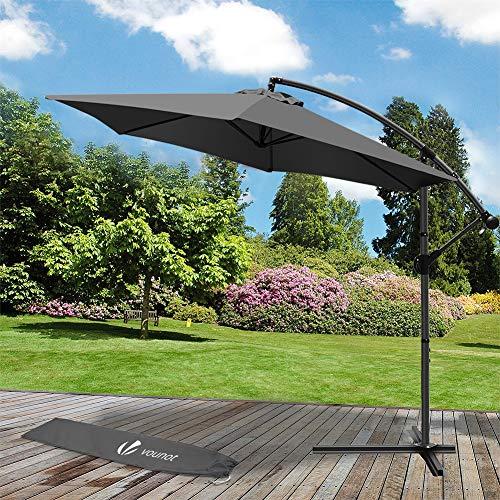 VOUNOT 3m Cantilever Garden Parasol, Banana Patio Umbrella with Crank Handle and Tilt for Outdoor Sun Shade, Gray