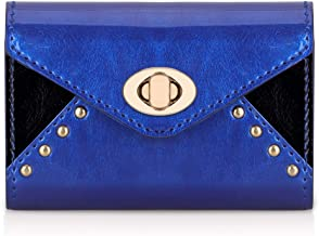 FYY Business Card Holder Business Card Case, Luxury Leather Name Card Holder Wallet with Metal Lock Shut Navy