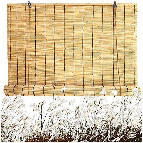 Persianas de rodillo de bambú natural Persianas romanas con levantadores, persianas retro, persianas de caña, sol / sombra / aislamiento, adecuado para interiores, jardín, al aire libre, patio puede s