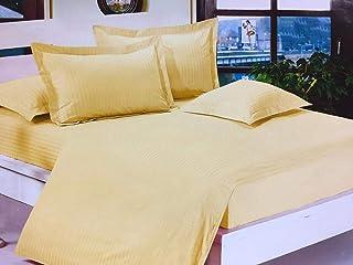King size hotel bedsheet 6pcs one set 100% cotton quality bedding set beige color