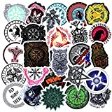 Nobranded 50 Pcs Magic Tatoo Symboles Amulette Viking Autocollants pour Moto Bagages Planche À roulettes Vélo Réfrigérateur Ordinateur Portable Autocollant Ensemble 1.2In (3Cm) -5.3 dans (13.5Cm)