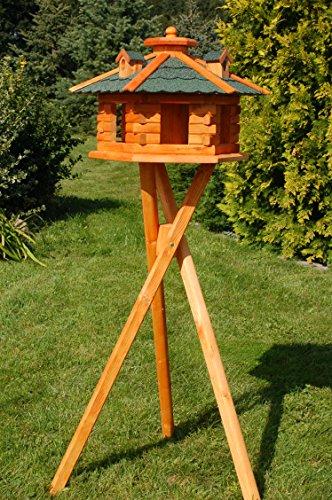 Deko-Shop-Hannusch sechseckiges Vogelhaus mit Ständer, Bitumschindeln, Vogelfutterhaus mit Futtersilo, Silo