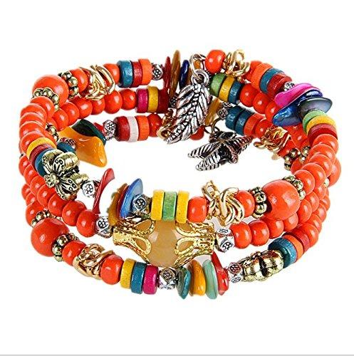 ARMAC Pulseras de cuentas de madera trenzadas, pulseras de madera trenzada, pulseras bohemio, regalos para niñas