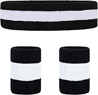 Sports Sweatband Set - (1 Headband and 2 Wristbands) or (2 Headband and 4 Wristbands) for Men Women Girls Boys - Athletic Cotton Terry Cloth Sweatband for Tennis, Basketball, Running, Gym